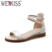 WETKISS Summer Cross Strap Women Sandals Open Toe Genuine Leather Zipper Footwear 2018 New Fashion Casual