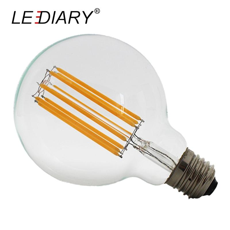 LEDIARY 110V/220V 8W 10W G125 G95 G80 A60 E27 LED Filament Bulb Warm White Retro Clear Lamp D95*H135mm Global Light Ball Light