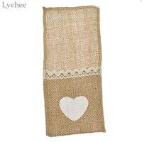 Lychee 24pcs Jute Hessian Burlap Cutlery Heart Pockets Wedding Tableware Sets Pocket Wedding Party Supplies