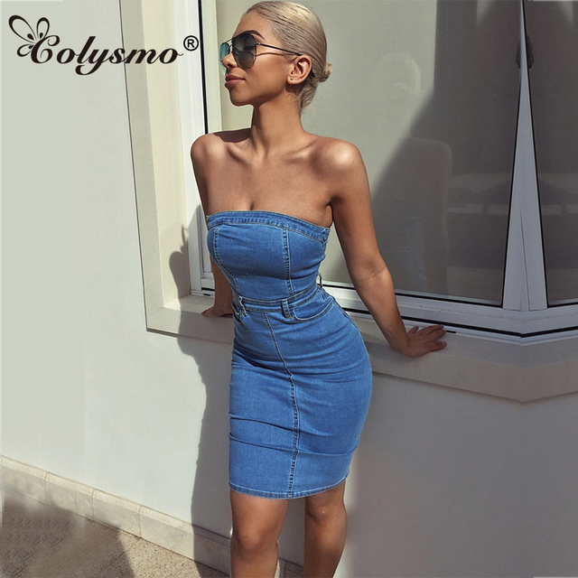 3ad4e38ca1 Colysmo Denim Dress Mini Summer Dress 2018 Women Elegant Bodycon Dress  Party Sexy Club Wear Vestido Jeans Summer Dresses Casual