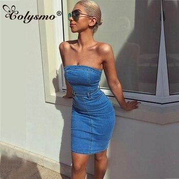Colysmo Denim Vestido Mini verano Vestido 2018 mujeres elegante Bodycon  Vestido de fiesta Sexy Club desgaste Vestido Jeans verano vestidos Casual 8fd844b0a28