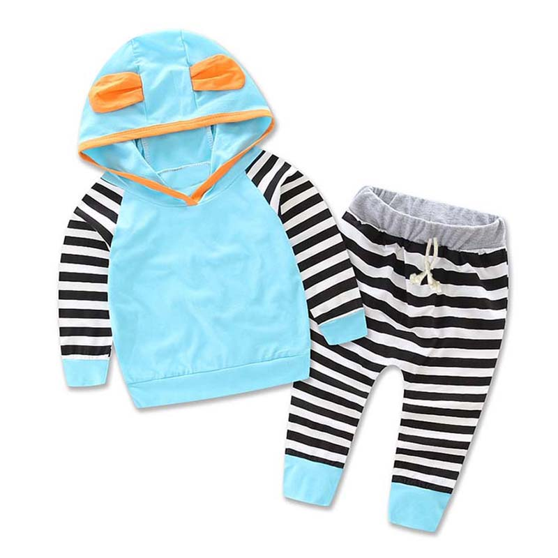 New Adorable Autumn Newborn Baby Girls boys Pale blue Infant Warm Romper Jumpsuit playsuit Hooded Clothes Outfit 2Pcs/Set newborn baby backless floral jumpsuit infant girls romper sleeveless outfit