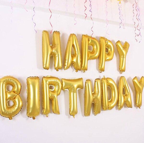 16Gold 13pcs Letter BalloonsHappy Birthdayset Aluminum Foil Balloon Classic Toys Helium Globos Ballon Ball A0306 In Balloons From