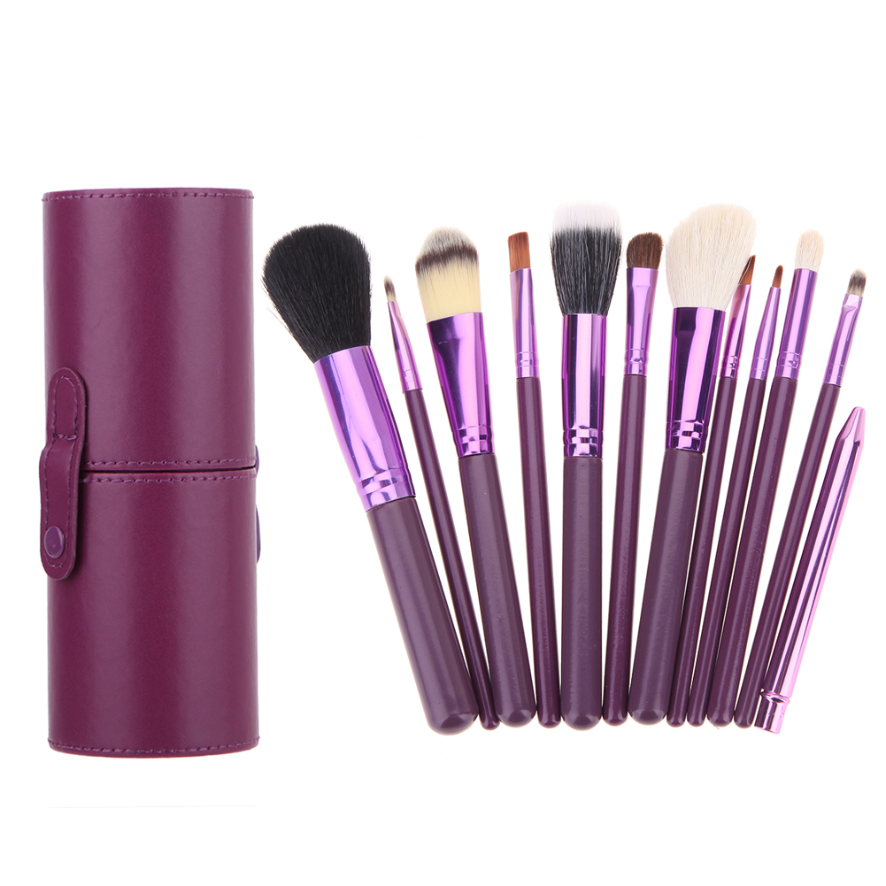 12Pcs Pro Makeup Brushes With PU Leather Holder Box Face Powder Foundation Blush Contour Concealer Blush Eyeshadow Eyebrow Brush pro 15pcs tz makeup brushes set powder foundation blush eyeshadow eyebrow face brush pincel maquiagem cosmetics kits with bag
