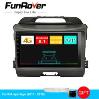 Funrover 4G+64G DSP 2 din Android 8.1 8 CORE Car DVD GPS For KIA Sportage 2010 2015 Car Radio Multimedia Video Player Navigation