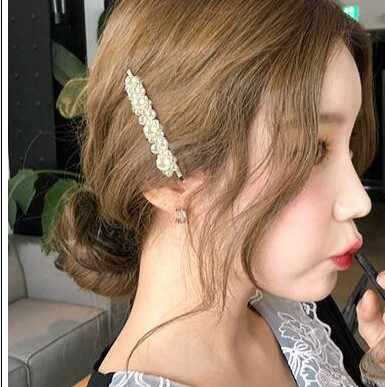 2019 แฟชั่นอเนกประสงค์เลียนแบบเพิร์ล Hairpin สแควร์สามเหลี่ยมด้านคำคลิป Bangs คลิปหวานเจ้าสาวอุปกรณ์เสริมผม