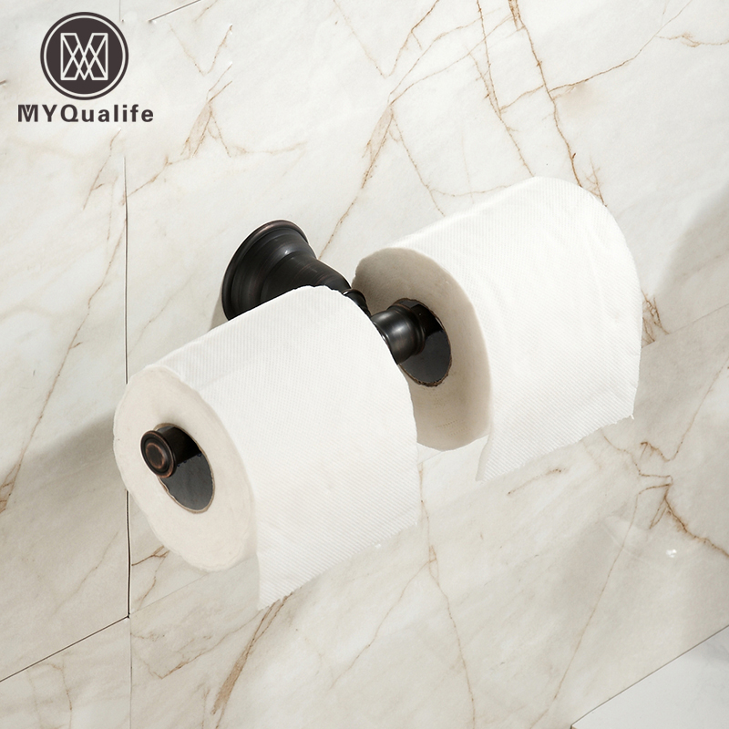 Wall Mounted Double Bathroom Paper Holder Oil Rubbed Bronze Black Roll Paper Tissue Rack Free Shipping bathroom accessory black oil rubbed bronze toothbrush holder set two ceramic cups wall mounted wba828