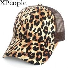 Unisex Fashion Animal Print Trucker Cap Low Profile Canvas Leopard Printed Air Mesh Polyester Cap Women Casual Hats Hip Hop