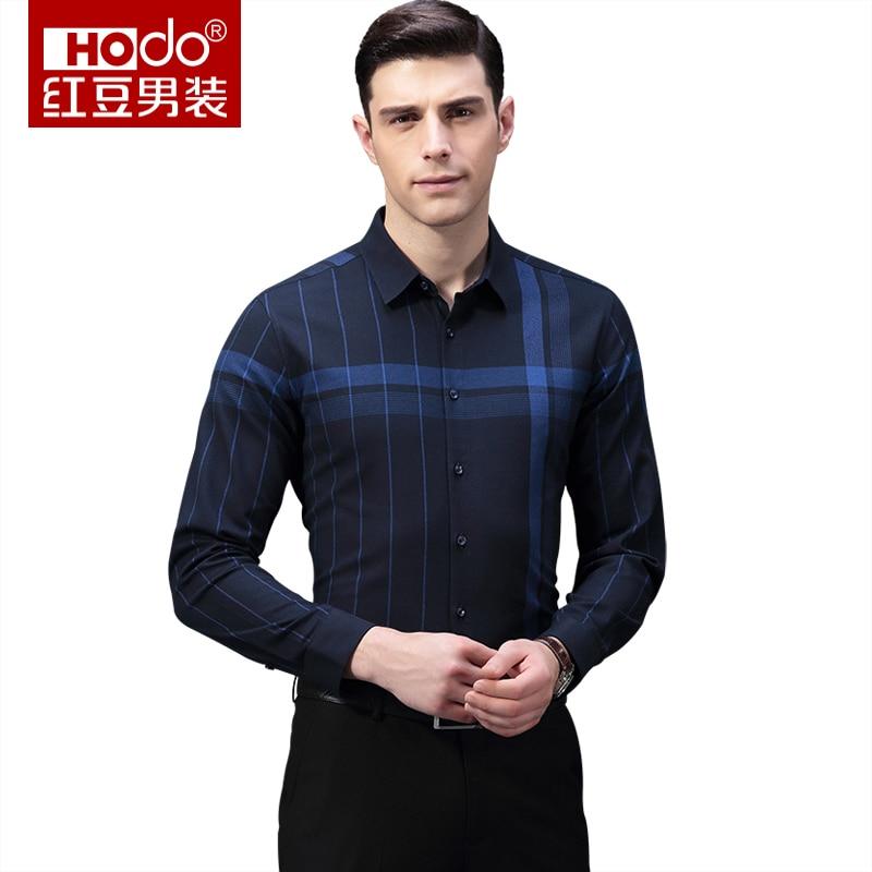 Hodo 2018 New Mens Smart Casual Shirts Summer Cotton Blue Short