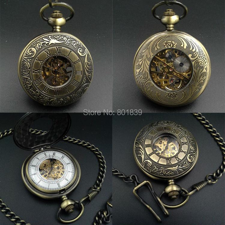 Bronze Tone Pattern Case White Dial Hand Wind Mechanical Men's Pocket Watch H168
