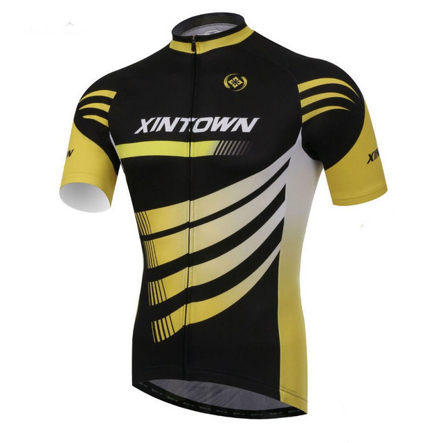 New XINTOWN Men Team Bicycle Cycling Jersey Clothing mtb Garment Clothes  Black Yellow Bike Top Shirts Breathable CC0377 29272bdb1