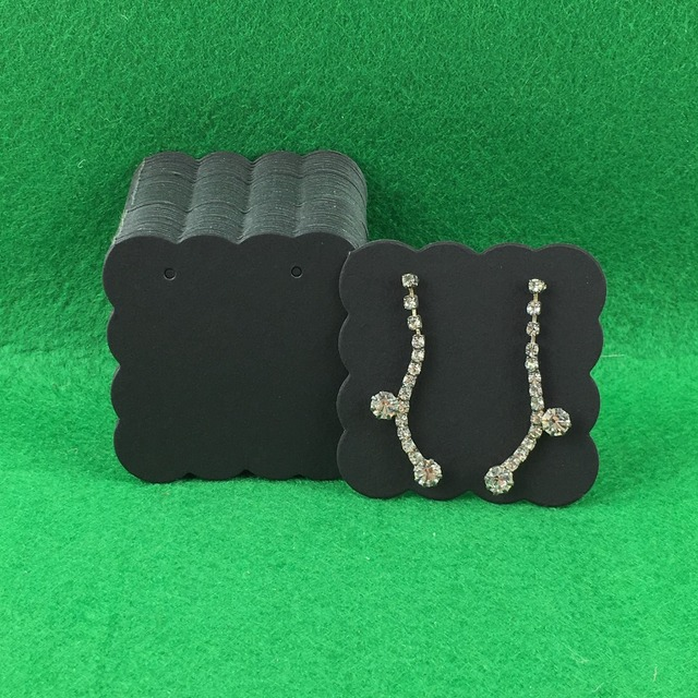 400pcs 5 5cm Fashion Earring Cards Black Paper Jewelry Display Vintage