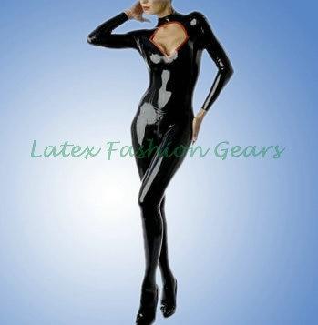 все цены на Sexy V-neck latex catsuit zentai gummi bodysuit back zipper custom made онлайн