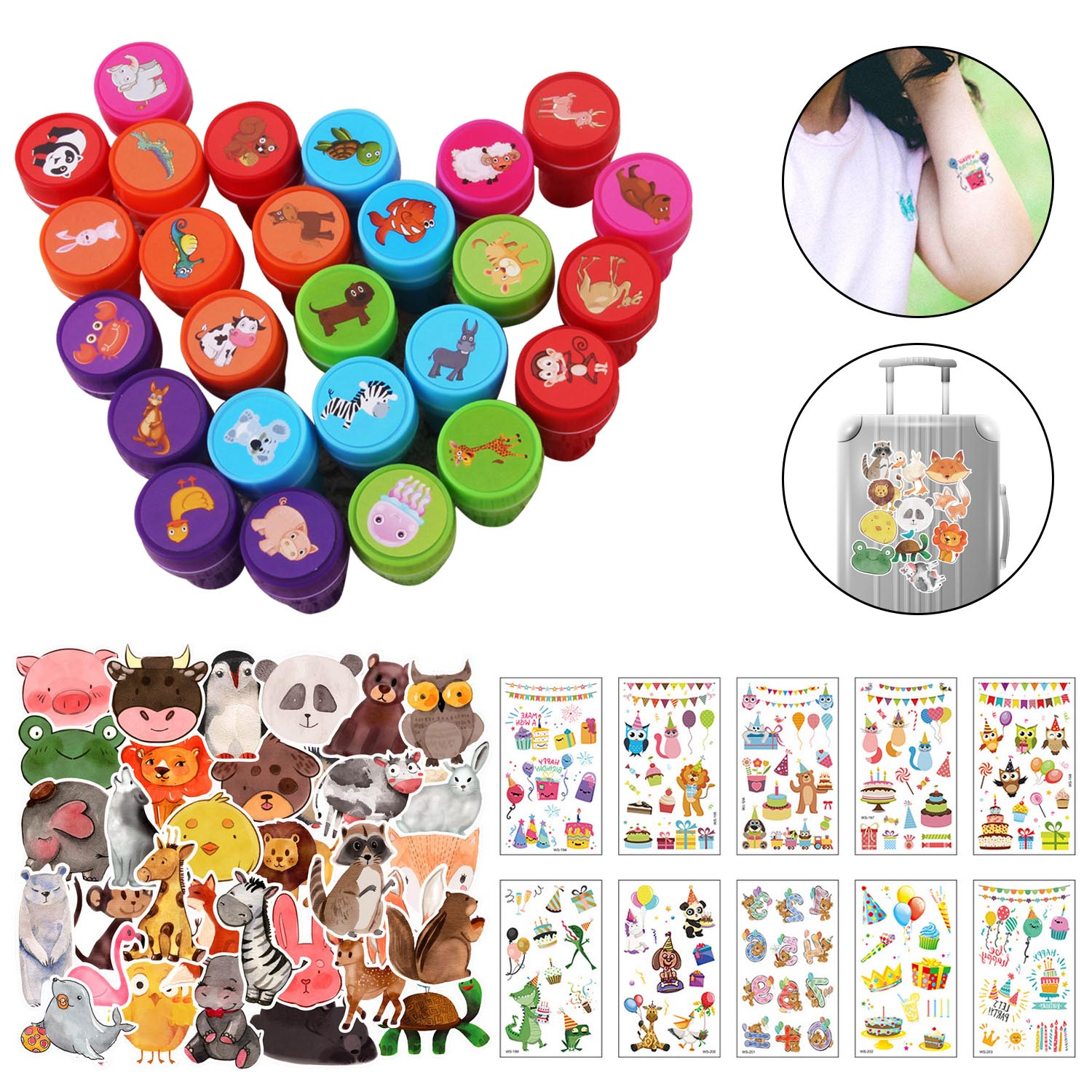 10 Sheet Tattoo Stickers + 50 Sheet PVC Stickers + 26PCS Stamps For Birthday Festival Animal Theme Party Favors Supplies