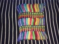 12 اللون 2/اللون 8.75yds/خصلية 24/كيس rainbow اللون مجموعات عبر الابره الموضوع ل اليد نسج أساور الصداقة