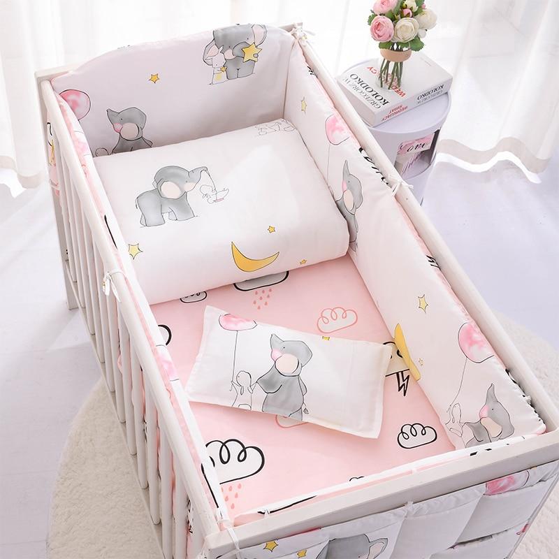 Baby Bedding Set 100 Cotton Cartoon Crib Bed Bumper Newborns Sheet Duvet Cover Child Bed Protector Baby Washable Cot Bedding Set Bedding Sets Aliexpress