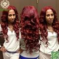 Borgoña 99j peluca de cabello humano peluca de pelo rojo humano de la virgen brasileña del cordón del pelo humano onda del cuerpo del frente del cordón pelucas Gluless