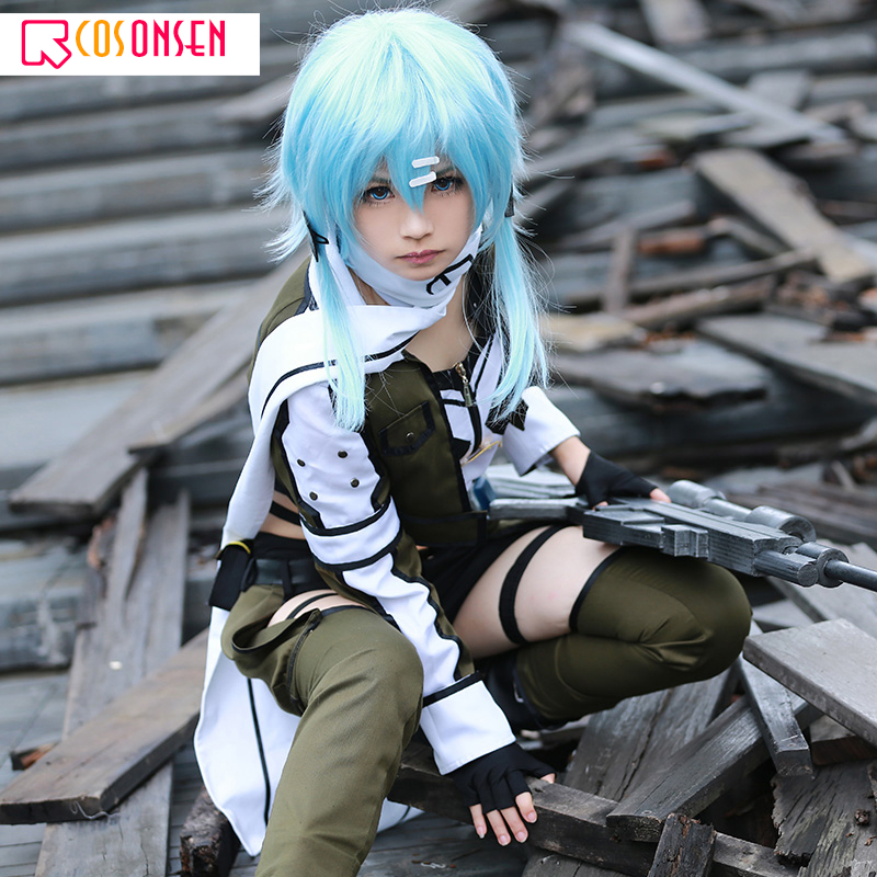 Sword Art Online 2 Asada Shino Cosplay Costume Sinon Military Women Halloween Costume COSPLAYONSEN