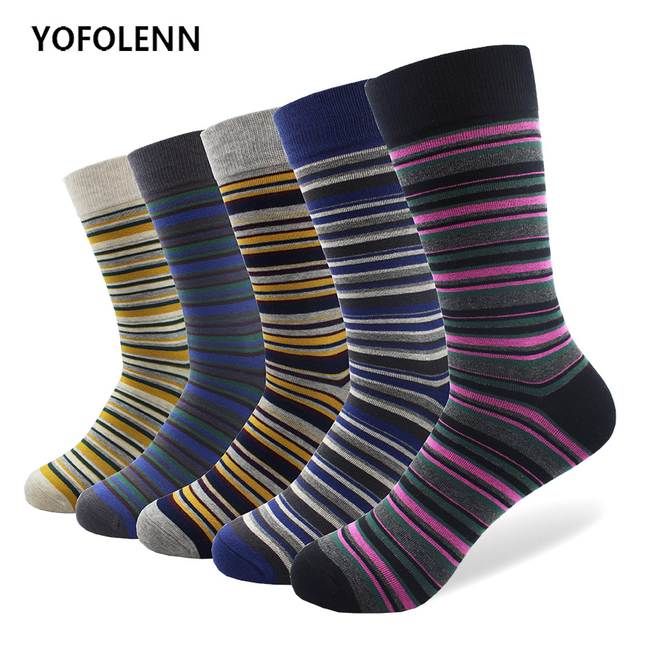 5 Pairs/lot Combed Cotton Socks for Man Mixed Color Slim Striped Long Tube Cool Sock Fashion Funny