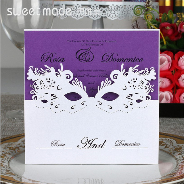 30Pcs Customized Wedding Invitations Mysterious Mask Cocktail Party