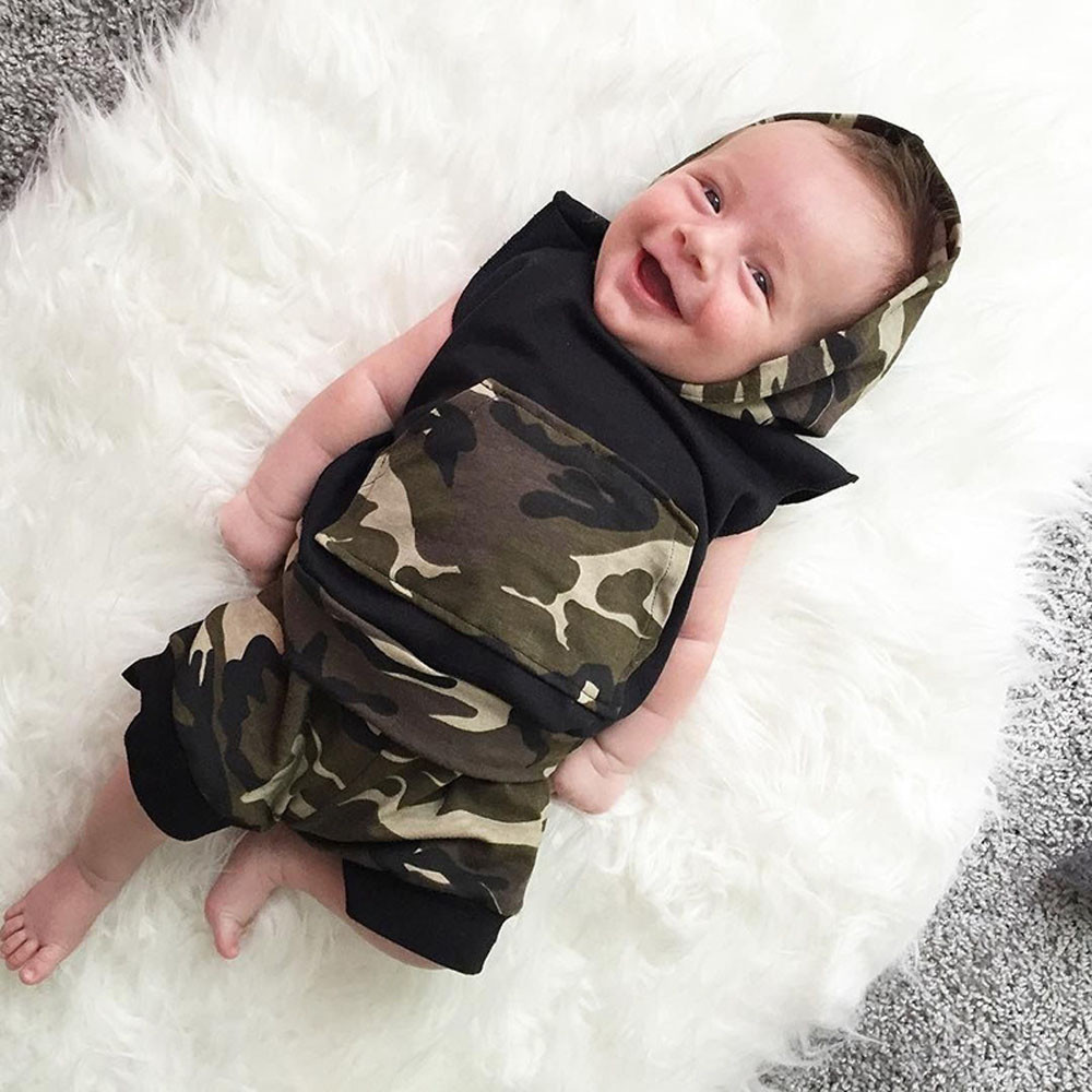 2017 New Fahion Baby Boys Camouflage Hooded Shirt Tops+Shorts Pants 2PC/ Set Baby Boy Clothes Set For 0~24 Months