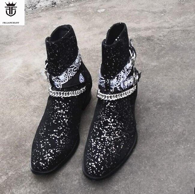 2019 FR LANCELOT Shiny Leather Genuine Leather Men Boots Ankles Botas Sliver Chains Buckles Low Heel