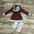 Детские зимние НАРЯДЫ для девочек 3 шт. наборы с шарфом устанавливает девушки сова одежда девочки браун топ с кружевом рябить наряды