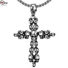 NFS Skeleton Skull Cross Plateado Colgante, Collar de Acero Inoxidable 316L Muchacho de Los Hombres de Regalo de Navidad de La Joyería Amigo El Epakcet