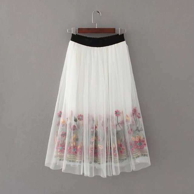 2017 Summer Ladies Elegant Mesh Flowers Embroidery Lace Long Skirts ...