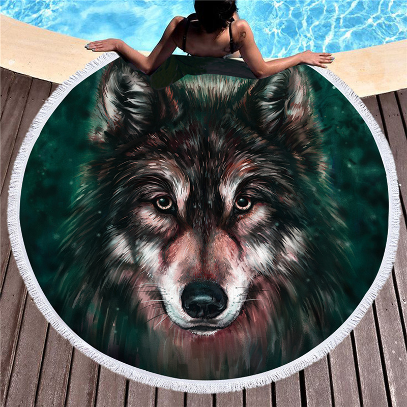 Wolf Printed Large Round Beach Towel for Adult Microfiber Summer Towel Yoga Mat 150cm Blanket Absorbent Soft Bath Towel Tapestry
