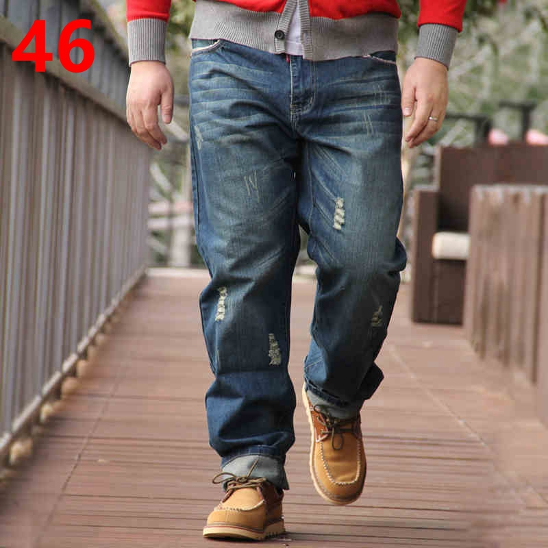 Plus size jeans male autumn and winter straight loose men's clothing male trousers plus Fit Jeans For Men 44 46 free shipping autumn and winter male straight plus size trousers loose thick pants extra large men s jeans for weight 160kg