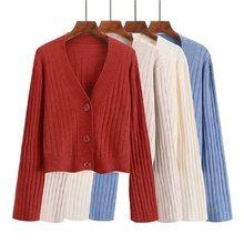 c42ee7a5e2 Suéter de Cashmere Cardigan Mulheres Outono Inverno Malha Com Decote Em V  de Luxo de Alta Qualidade Botão Sólidos Casual Curto .
