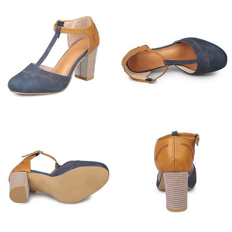 حذاء نسائي من SHUJIN بكعب مربع حذاء عالي كلاسيكي ذو كعب مربع وطرف مستدير على شكل T حذاء فستان زفاف للنساء