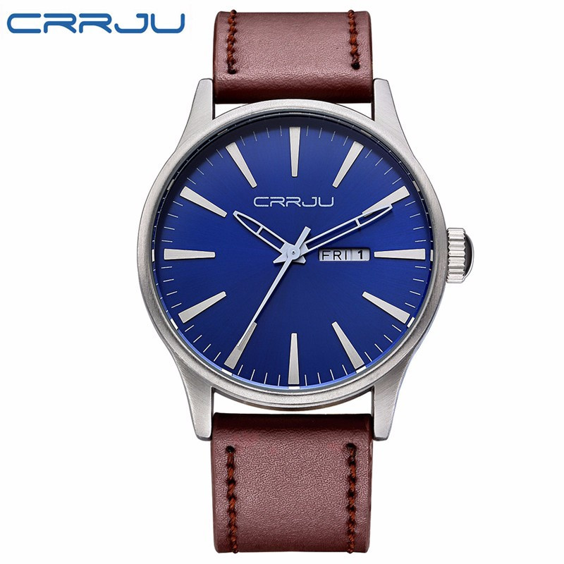 CRRJU Top Luxury Brand Relogio Masculino Date Leather Casual Watch Men Sports Watches Quartz Military Wrist Watch Male Clock