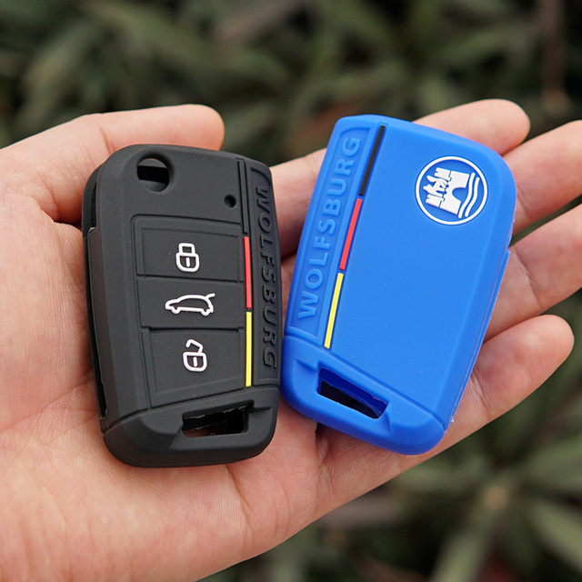 Silicone key fob case cover skin shell holder WOLFSBURG Emblem for Skoda rapid Octavia Scout Kodiaq Karoq A7 2017 Remote protect