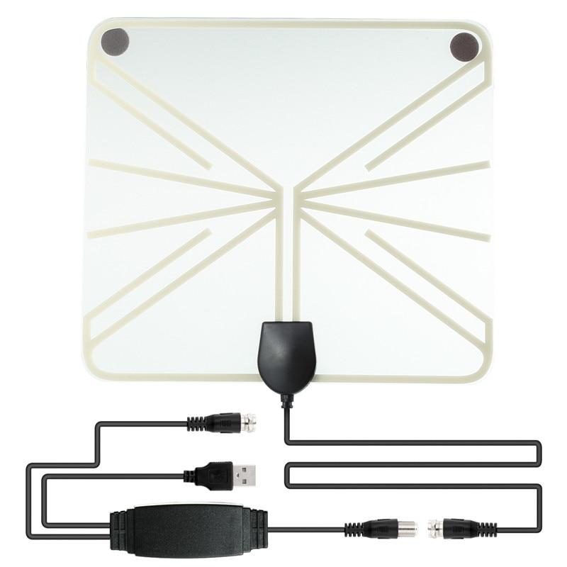 SOONHUA Verstärkt HDTV Antenne 50-100 Meilen Reichweite Mini-digital-innen TV 1080 P HD Antenne Signalverstärker Booster Transparant stil