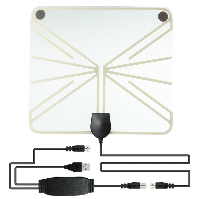 SOONHUA Amplified HDTV Antenna 50-100 Miles Range Digital Indoor TV 1080P HD Antenna Signal Amplifier Booster Transparant Style simple fashion hdtv amplified indoor digital tv aerial with high gain hdtv 50 miles reception range home use