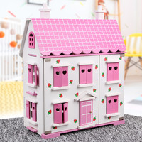Wooden DIY dollhouse with miniature Furniture sets for dolls kawaii pink & white doll house pretend play toys for children