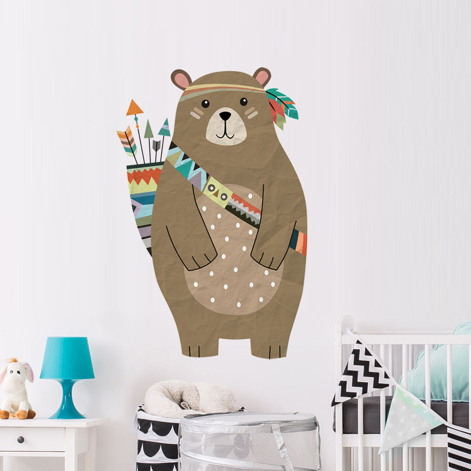 Cute Cartoon Tribe Bear Wall Sticker Diy Forest Animal Vinyl Wall Decal Nursery Art Wallpaper For Kids Rooms Nordic Home Decor