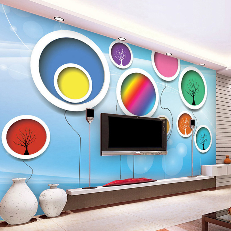 Custom Size 3D Abstract Circles Mural Wall Paper Flower Tree Murals For Children's Room Bedroom TV Sofa Background Wallpaper