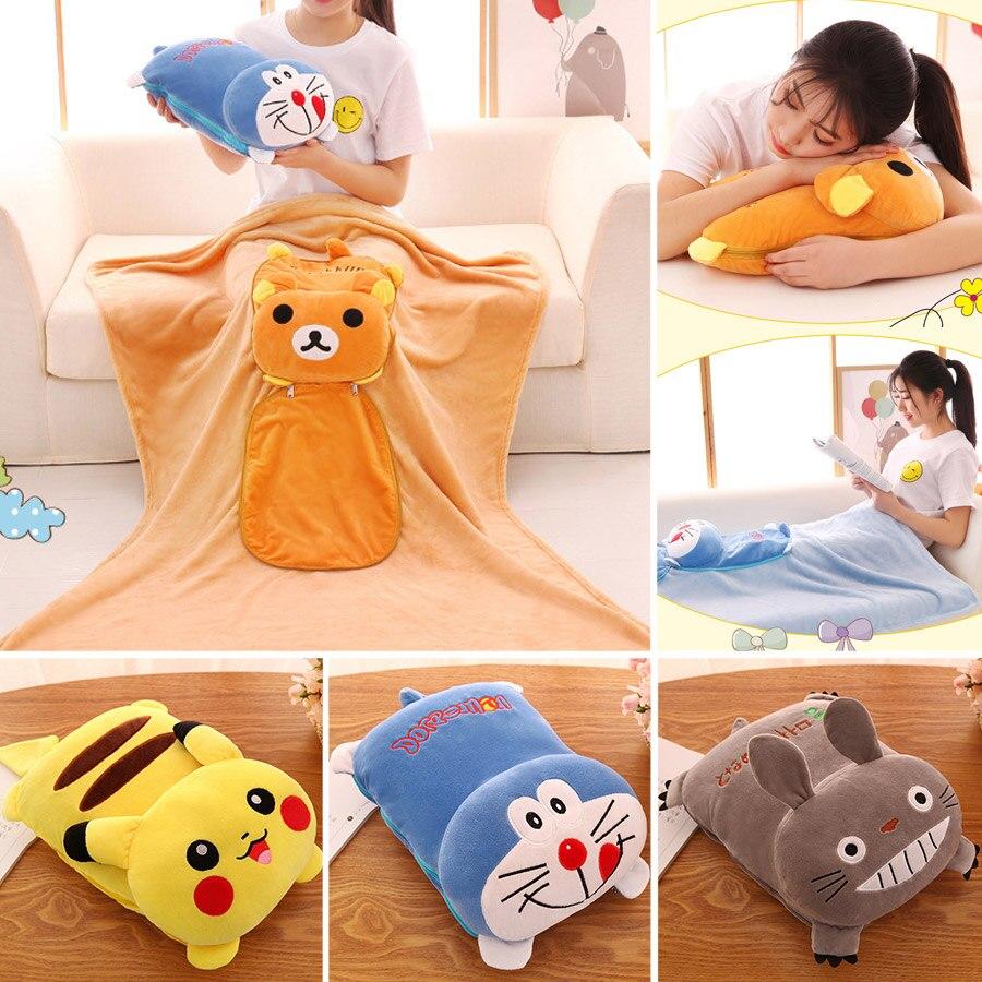 Creative Portable Flannel Blanket 2 In 1 Cartoon Pikachu Duo A Dream Totoro  Sleeping Throw Rug Anime Sofa Bedding Blanket