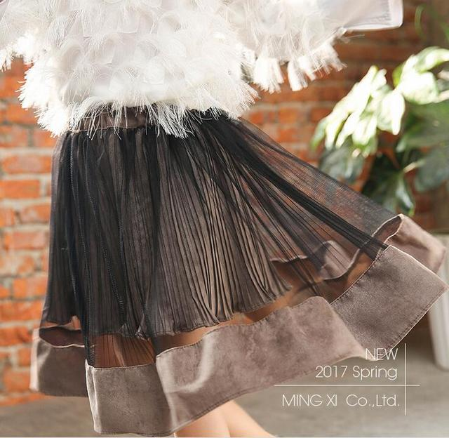 2017 wholesale new girls draped skirt spring skirts solid color