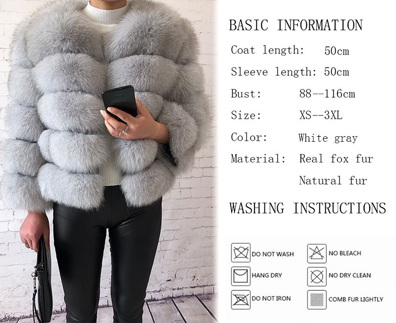 2019 new style real fur coat 100% natural fur jacket female winter warm leather fox fur coat high quality fur vest Free shipping 23