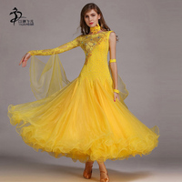 Ballroom Dance Dress Modern Waltz Standard Competition Yellow Dance Dress