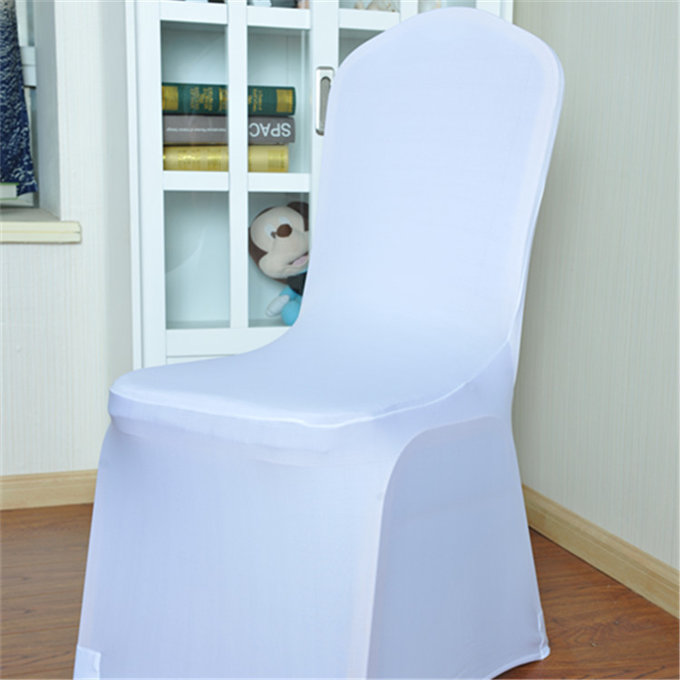 Chair Covers For Parties Wall Hugger Recliner Canada Free Ship 100 Pcs Stretch Elastic Universal White Spandex Wedding Weddings Party Banquet Hotel Polyester Fabric