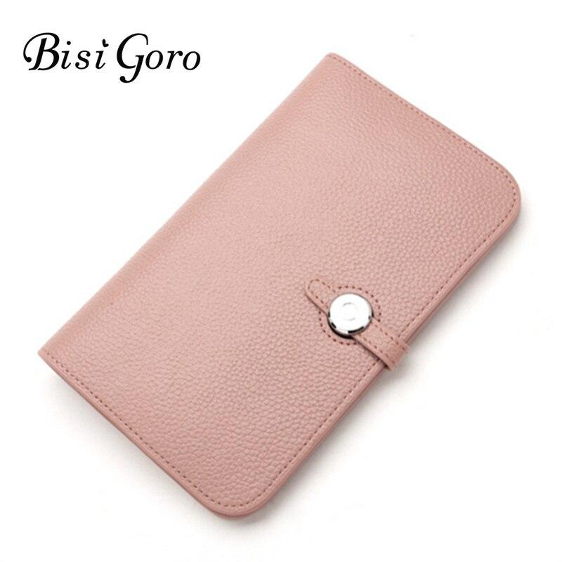 Bisi Goro Wallet 2019 Fashion Wallet Women Cowhide Leather Wallet Money Bag For Phone Brand Women Purse Long Purse Coin Purse