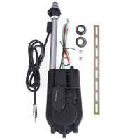 Black AM FM Radio Universal Car Automatic Power Booster Antenna Mast Kit Replacement Auto Aerial For