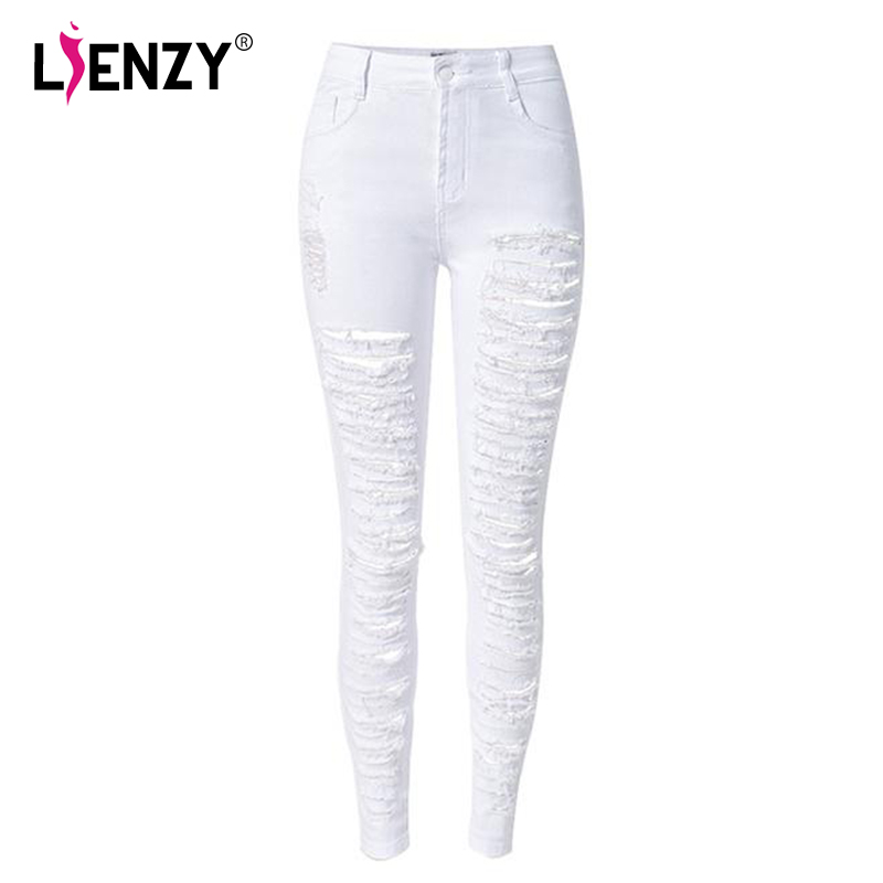 Spring And Autumn Individuality European Style High Waist Skinny Jeans 2016 NEW White Hollow Out Fashion Ripped Pencil Pants