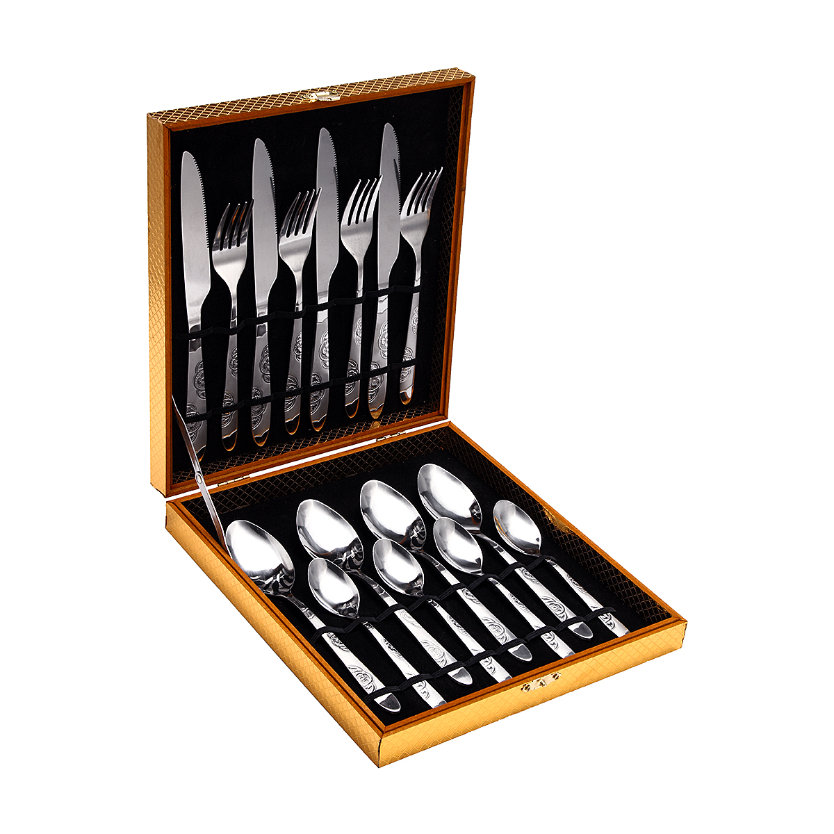 Black And Silver Kitchen Accessories: Silver 16PCS Stainless Steel Dinnerware Set Fork Knife