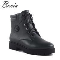 Bacia Winter Mid Culf Warm Wool Fur Boots Genuine Full Grain Leather Snow Boots Women High
